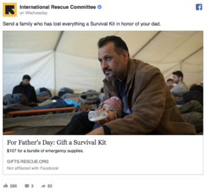 International Rescue Committee Father's Day Facebook Ads AKvertise