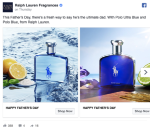 Ralph Lauren Father's Day Facebook Ad AKvertise