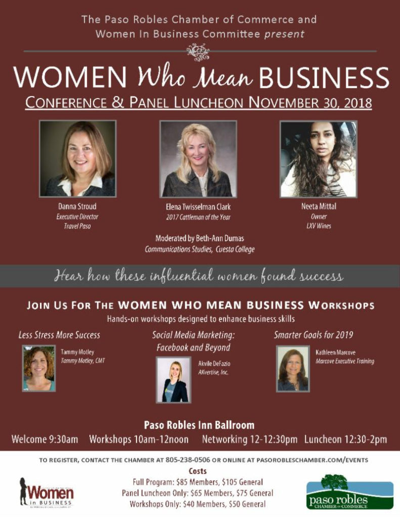 Women Who Mean Business Paso Robles AKvertise Flyer